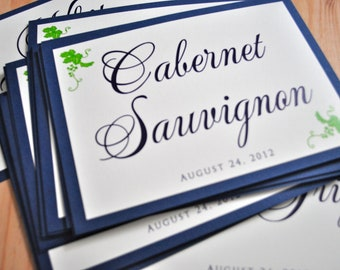 Wine Themed Wedding Table Numbers - Wine Wedding - Navy Wedding Numbers
