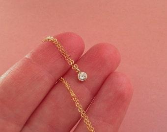Tiny Crystal Necklace in Gold -Gold Diamond Necklace -Tiny Diamond Pendant -April Birthstone Necklace