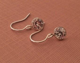 Tiny Crystal Earrings in Sterling Silver -Silver Diamond Earrings -Diamond Drops
