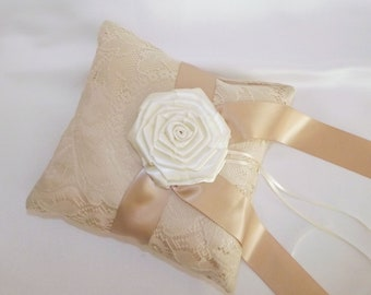Lace Wedding Ring Bearer Pillow Tea Stained  Ivory Victorian OOAK