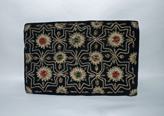 Vintage Indian Beaded Clutch Purse with Matching Hair Clip
