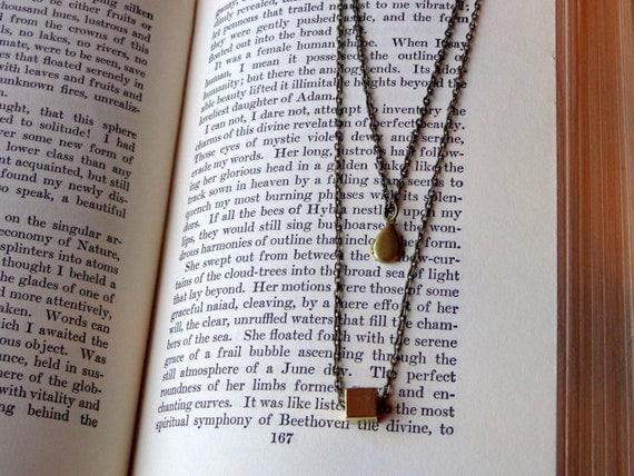 Simple Brass Layered Necklace.  Teardrop Locket.