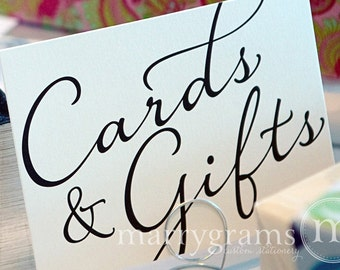 Cards & Gifts Sign - Gift Table Signage - Wedding Reception Card Signs - Matching Table Numbers SS03