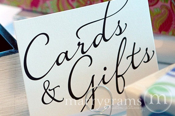Cards gifts sign gift table signage wedding reception for Table 6 gift card