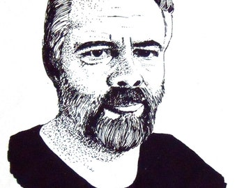 Illustrated Philip K Dick Screen Print Portrait T Shirt