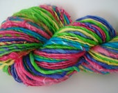 "Handspun Art Yarn ""Candy Dots"" Thick & Thin Singles 100 yds"