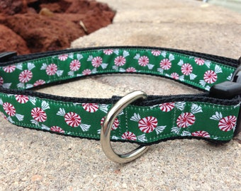 "1"" Width Dog Collar - Peppermints on Green"