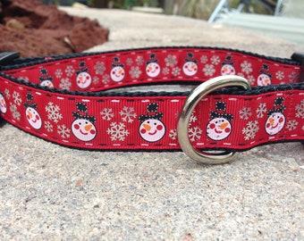 "1"" Width Dog Collar - Snowmen on Red"