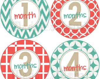 Monthly Baby Stickers, Milestone Stickers, Baby Month Stickers, Monthly Bodysuit Sticker, Monthly Stickers Neutral  (Turquoise and Red)
