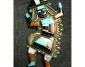 Zuni Rainbow Dancer Native American Brooch - Sterling and Stone - 2.25""