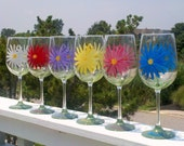 Daisy hand painted wine glasses