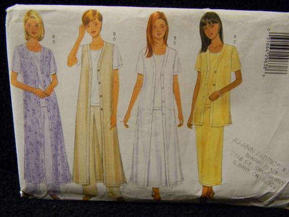 Uncut Butterick Pattern 6079 Size 20-24 Vest, Duster, Top, Skirt And Pants