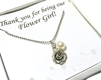 Flower Girl Necklace, flower necklace for wedding party from Moonstone Creations