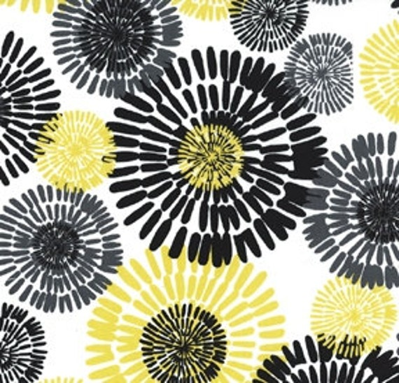 """Black and Yellow Floral Fabric - Citron Gray """"Cote D'Azur"""" from Michael Miller 1 Yard"""