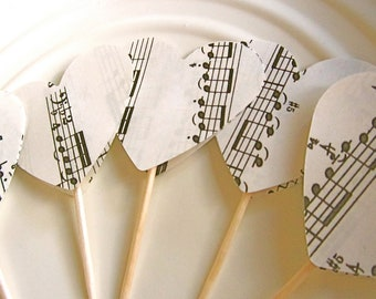Music Hearts, DIY, Vintage Sheet Music, Music Theme Party, Heart Toppers, Cupcake Toppers, Love Theme, Wedding Hearts, 2 inch