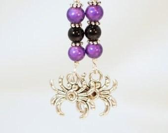 Halloween Earrings Spider Earrings. Black and Purple Spider Beaded Dangle Pierce Earrings. OOAK Handmade earrings  CKDesigns.US