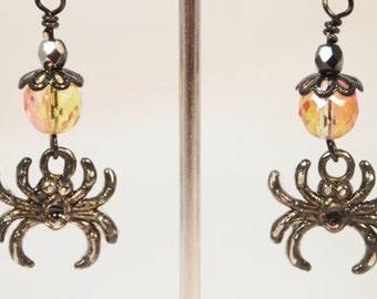 Spider Earrings Halloween Earrings  Black and Orange Spider Beaded Dangle Pierce Earrings. CKDesings.us