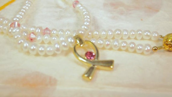 RESERVED FOR ANGELZ..  Awareness Necklace. Pearls, Swarovski Crystals, Ribbon Charm, Beaded Necklace. CKDesigns.us