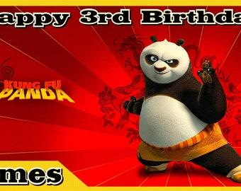 Kung Fu Panda Personalized Custom Vibrant Vinyl Birthday Banner Party Decoration - Golden