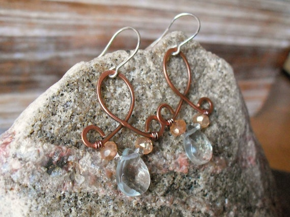 Blues.  Mixed Metal Silver and Copper Hand Forged Earrings with Recycled Glass Drops and Peach Quartz Rondelles