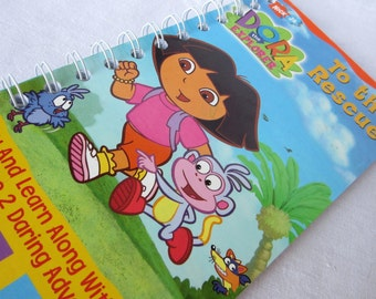 Upcycled Notebook/Recycled Notebook from A Dora the Explorer To the Rescue VHS box, 50 sheets/100 pages