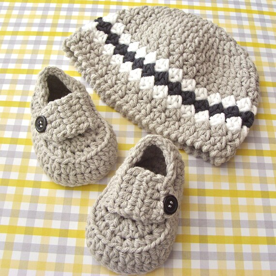 Baby Boy Shower Set - Loafer Shoe Booties - Striped Grey Beanie Hat - Infant Size 3 to 6 Months - Shoe Size 2 - Gift Boxed
