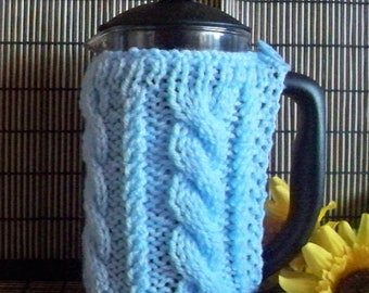 Hand knitted pale blue cafetiere cover coffee pot press cosy