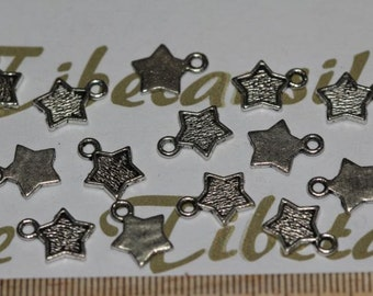 20 pcs per pack 8mm Star Charm Antique Silver Finish Lead Free Pewter