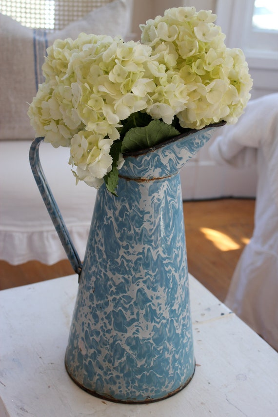 Vintage French Enamelware Pitcher Blue Swirl Reserved for Beth