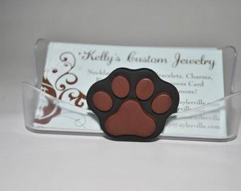Business Card Holder.  Dog Print.  Paw Print.