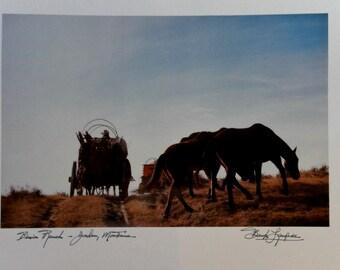 2 1984 Bank Langmore Ink Autographed US West, Inc. Large Calender Prints - Cowboy Photographs