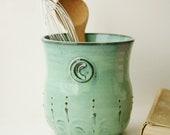 Monogram Kitchen Utensil Holder - Verdigris Sea -  Aqua Mist French Country Home Decor - BackBayPottery