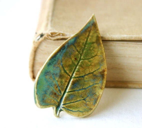 Leaf Brooch - Ceramic Pin - Olive Green Moss Blue - Ready to Ship