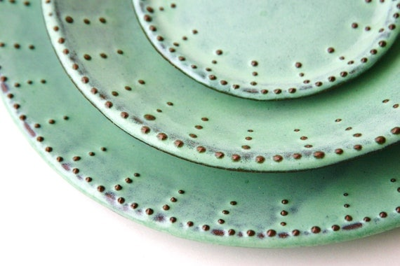 Dinnerware Set for 4 Four 12 Pieces Aqua Mist by BackBayPottery