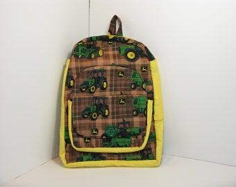 John Deere in Brown Plaid Preschool Backpack