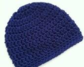 Royal Blue Beanie, Crochet Baby Hat, Newborn Hat, Baby Hat, Crochet Baby Beanie, Photo Prop