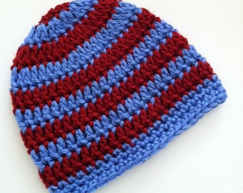 Blue and Red Stripe Beanie, Crochet Baby Hat, Newborn Hat, Baby Hat, Crochet Baby Beanie, Photo Prop