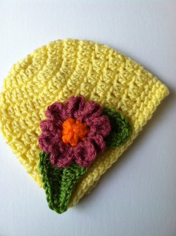 Crochet Baby Hat with Flower, Crochet Baby Hat, Newborn Hat, Baby Hat, Bright Yellow Baby Hat, Hat with Flower, Baby Girl Hat