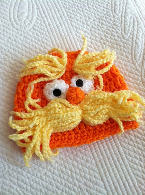 Lorax Inspired Baby Hat, Yellow and Orange Baby Hat, Newborn Hat, Crochet Baby Hat, Newborn Hat, Infant Hat, Yellow Hat, Child's Hat