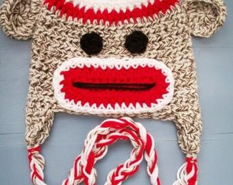 Crochet Sock Monkey Beanie Hat Size Newborn-Adult