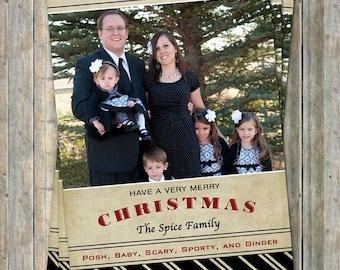 Family Christmas Card, family photo card, seasons greetings, digital printable file