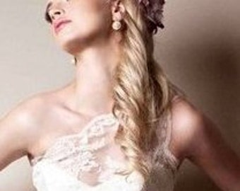 Hollywood Glam Asymmetric Shoulder Ivory lace wedding gown Vintage inspired handmade in Canada