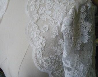 Lace Bridal Bolero 3/4 sleeves with Scallop Trim