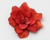 FEW LEFT - Red Orange Flower - Hair Clips - 1 PIECE  --- small flower with bold color --- clip in hair, on headband or jacket