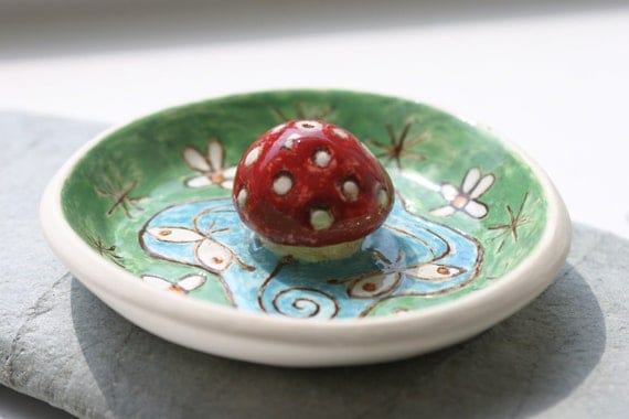 Ceramic Pottery Faery Mushroom Incense Holder
