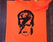 SALE Neon Orange David Bowie Tote