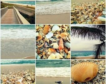 "Beach & Ocean Photography - Large Beach Wall Art - 18"" x 18"" Photo Set of Nine 6"" x 6"" Prints - Turquoise Beach Home Decor"