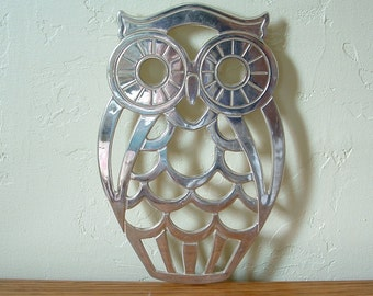 Vintage Owl Trivet Leonard Silverplate Owl Wall Decor Kitchen Decor Large