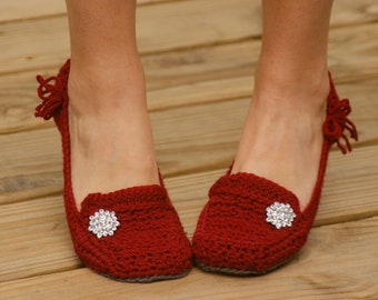 Crochet Pattern for Womens House Slippers - Pattern number 117 - Instant Download
