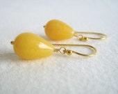 Honey candy jade earrings Yellow Drop Vermeil earwire Modern Minimalist Dangle